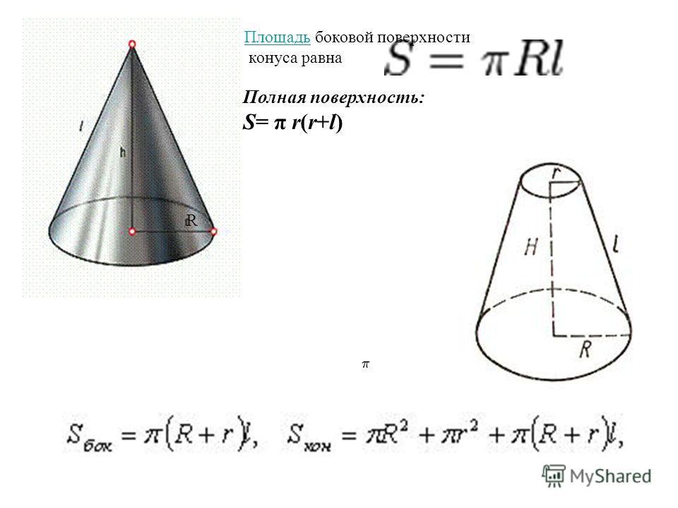ПлощадьПлощадь боковой поверхности конуса равна R Полная поверхность: S= π r(r+l)