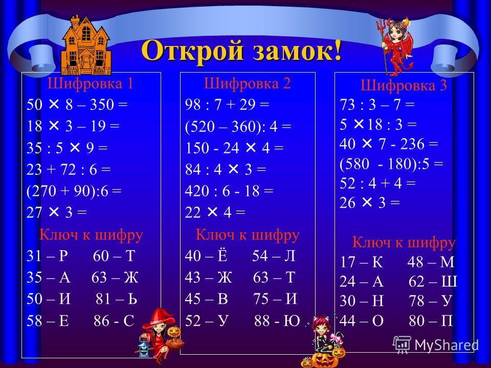 Открой замок! Шифровка 1 50 8 – 350 = 18 3 – 19 = 35 : 5 9 = 23 + 72 : 6 = (270 + 90):6 = 27 3 = Ключ к шифру 31 – Р 60 – Т 35 – А 63 – Ж 50 – И 81 – Ь 58 – Е 86 - С Шифровка 2 98 : 7 + 29 = (520 – 360): 4 = 150 - 24 4 = 84 : 4 3 = 420 : 6 - 18 = 22