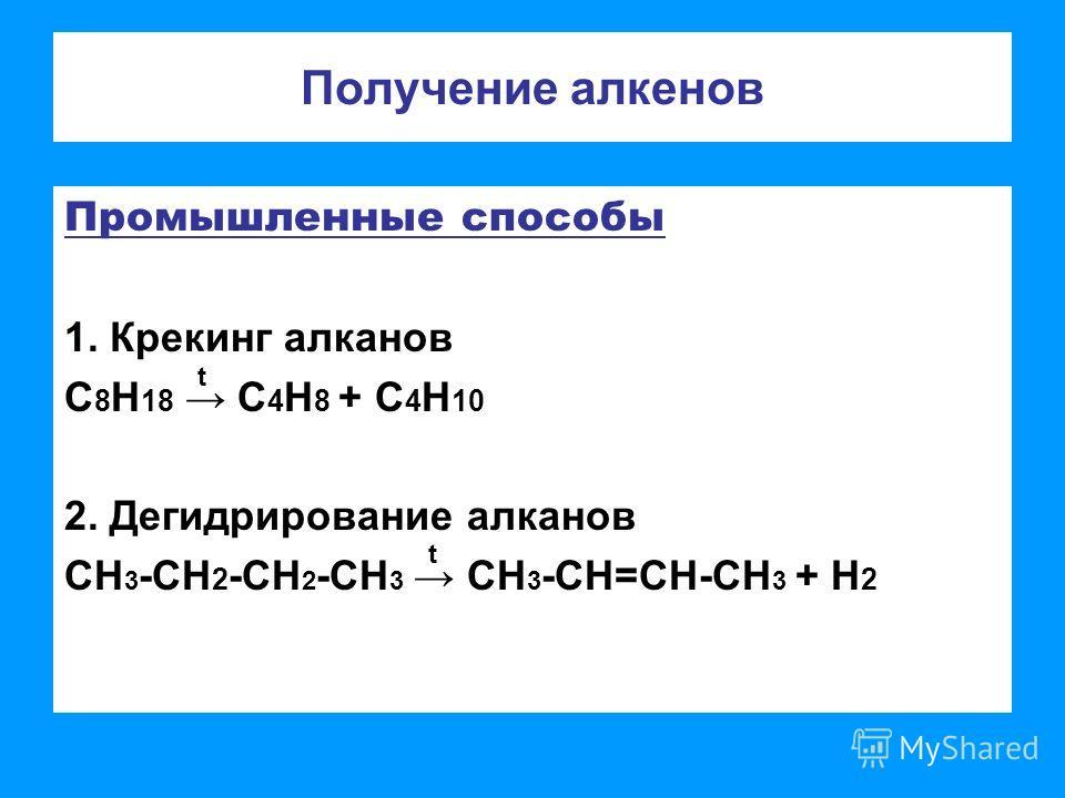Получение алкенов Промышленные способы 1. Крекинг алканов С 8 Н 18 С 4 Н 8 + С 4 Н 10 2. Дегидрирование алканов СН 3 -СН 2 -СН 2 -СН 3 СН 3 -СН=СН-СН 3 + Н 2 t t