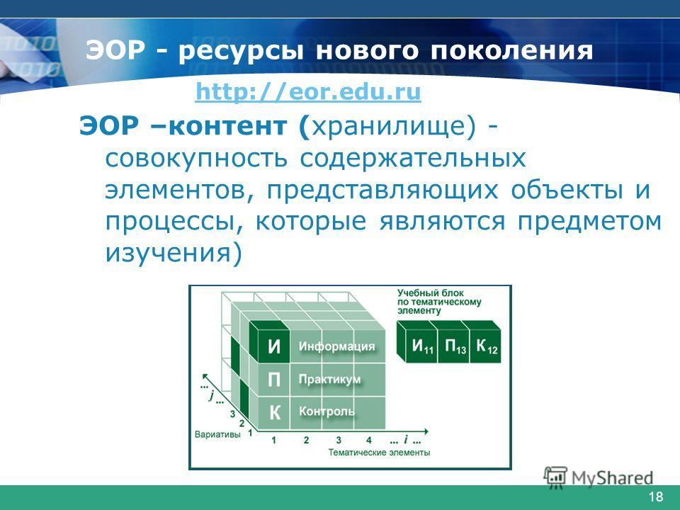 18 ЭОР –контент (хранилище) - совокупность содержательных элементов, представляющих объекты и процессы, которые являются предметом изучения) ЭОР - ресурсы нового поколения http://eor.edu.ru