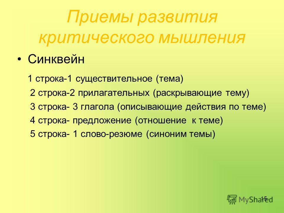 Приемы развития критического мышления Синквейн 1 строка-1 существительное (тема) 2 строка-2 прилагательных (раскрывающие тему) 3 строка- 3 глагола (описывающие действия по теме) 4 строка- предложение (отношение к теме) 5 строка- 1 слово-резюме (синон