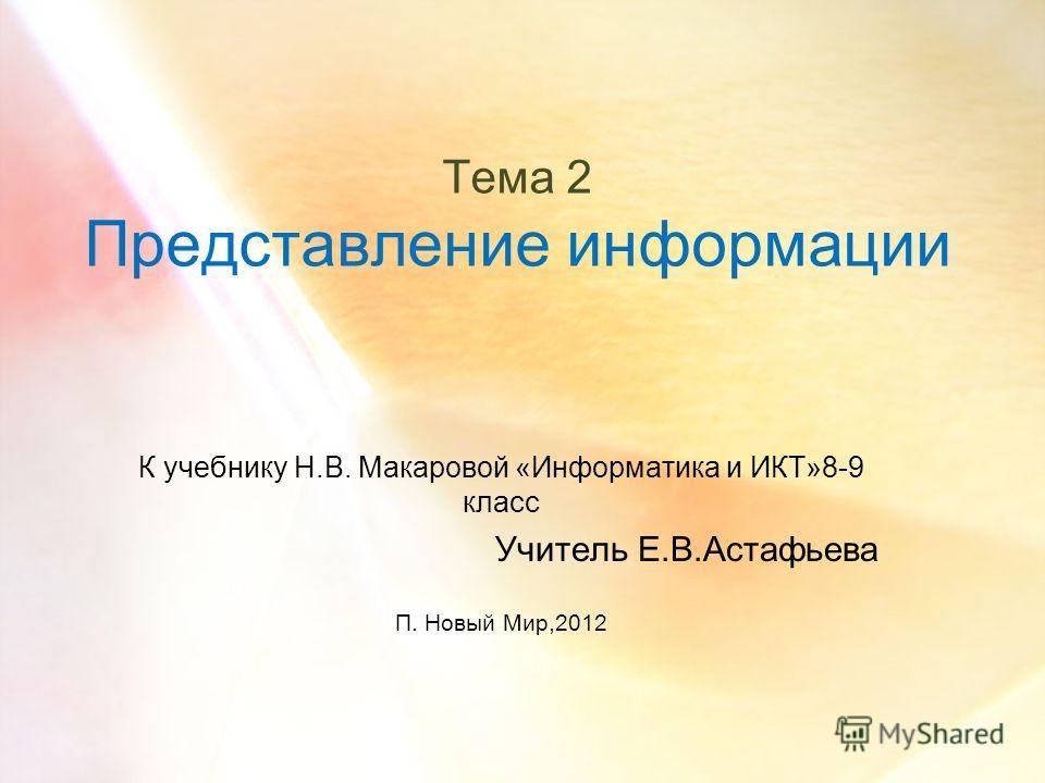 Тема 2 Представление информации К учебнику Н.В. Макаровой «Информатика и ИКТ»8-9 класс Учитель Е.В.Астафьева П. Новый Мир,2012