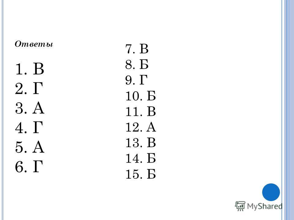 Ответы 1. В 2. Г 3. А 4. Г 5. А 6. Г 7. В 8. Б 9. Г 10. Б 11. В 12. А 13. В 14. Б 15. Б