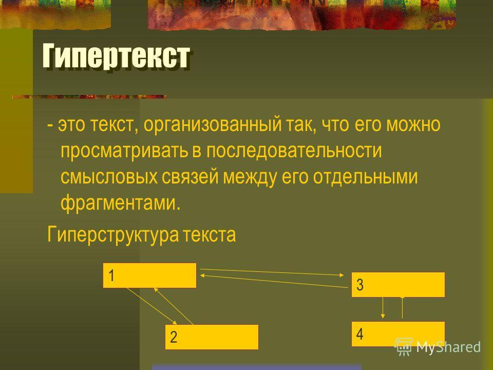 Гипертекст - это текст, организованный так, что его можно просматривать в последовательности смысловых связей между его отдельными фрагментами. Гиперструктура текста 1 2 4 3