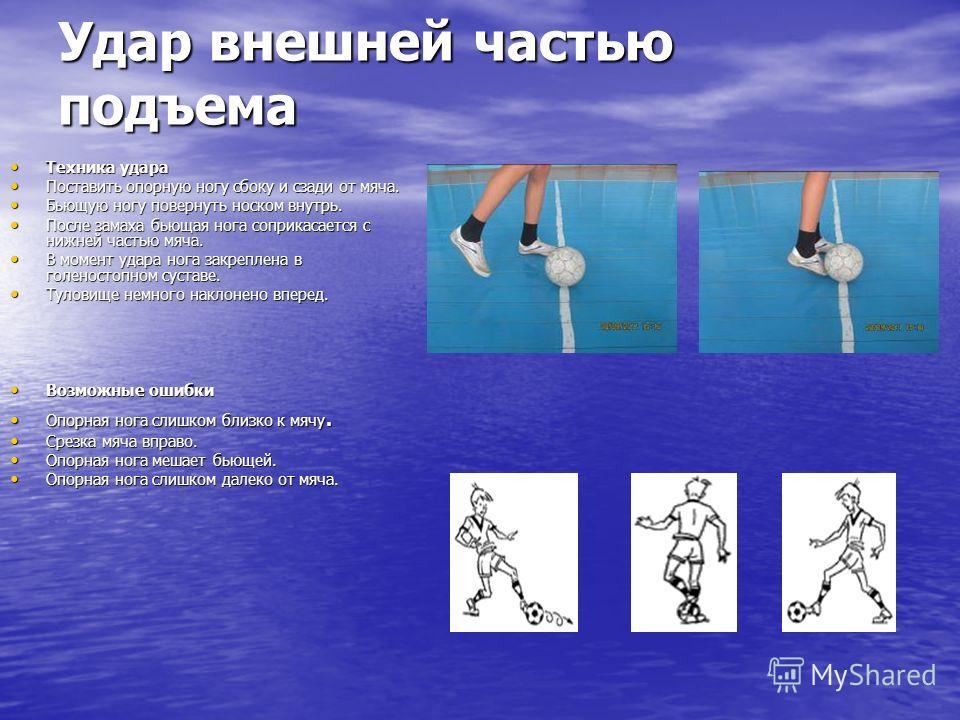 Удар внешней частью подъема Техника удара Техника удара Поставить опорную ногу сбоку и сзади от мяча. Поставить опорную ногу сбоку и сзади от мяча. Бьющую ногу повернуть носком внутрь. Бьющую ногу повернуть носком внутрь. После замаха бьющая нога соп