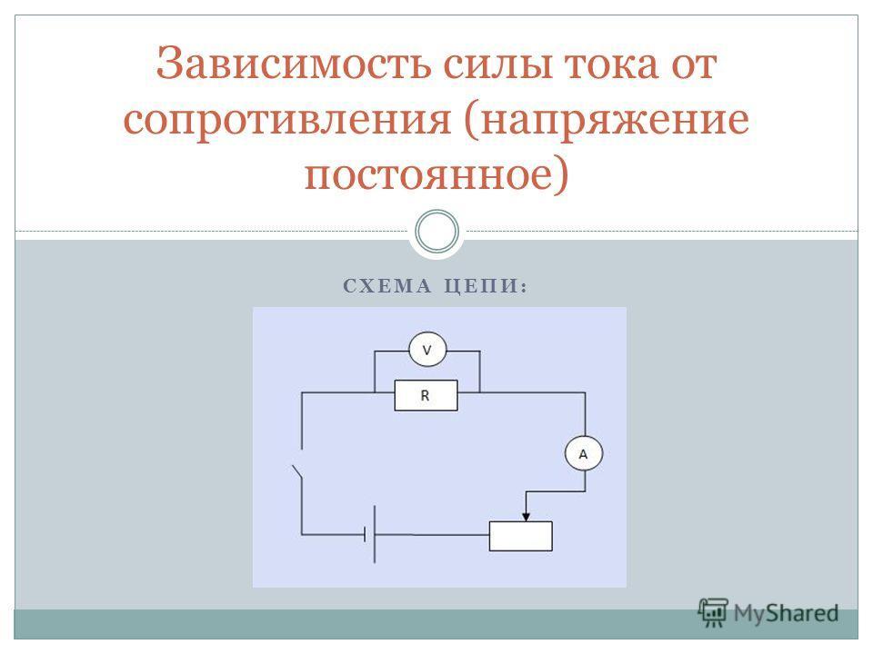 СХЕМА ЦЕПИ: Зависимость силы тока от сопротивления (напряжение постоянное)