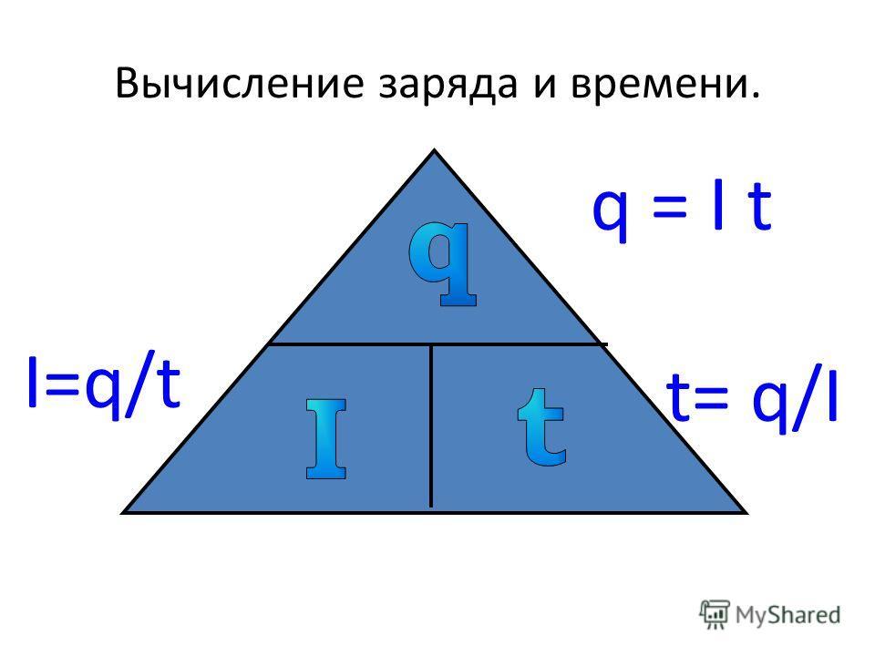 Вычисление заряда и времени. I=q/t q = I t t= q/I