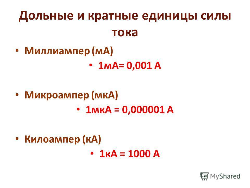 Дольные и кратные единицы силы тока Миллиампер (мА) 1мА= 0,001 А Микроампер (мкА) 1мкА = 0,000001 А Килоампер (кА) 1кА = 1000 А