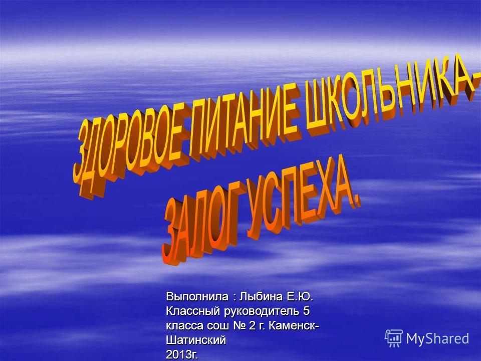 Выполнила : Лыбина Е.Ю. Классный руководитель 5 класса сош 2 г. Каменск- Шатинский 2013г.