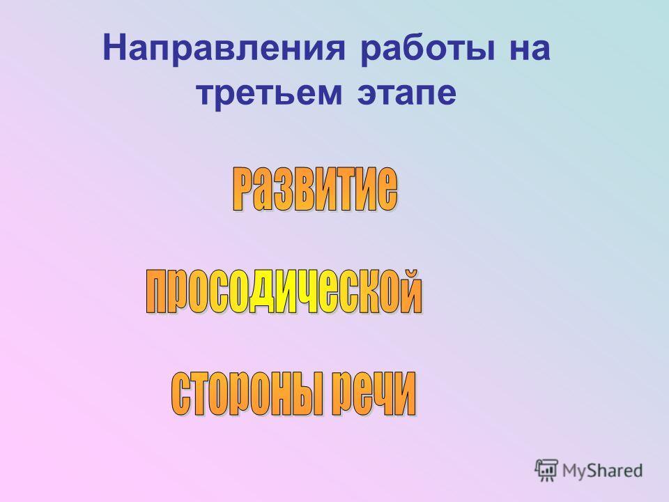 Направления работы на третьем этапе