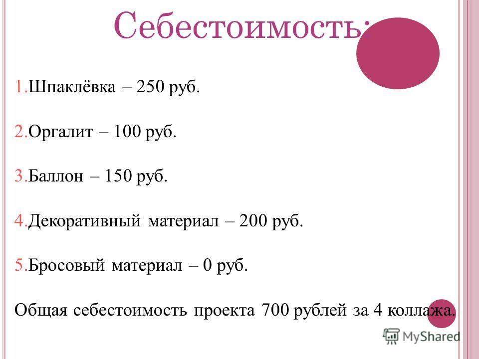 Себестоимость: 1.Шпаклёвка – 250 руб. 2.Оргалит – 100 руб. 3.Баллон – 150 руб. 4.Декоративный материал – 200 руб. 5.Бросовый материал – 0 руб. Общая себестоимость проекта 700 рублей за 4 коллажа.