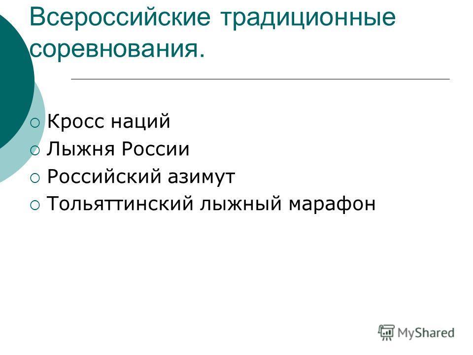 Всероссийские традиционные соревнования. Кросс наций Лыжня России Российский азимут Тольяттинский лыжный марафон