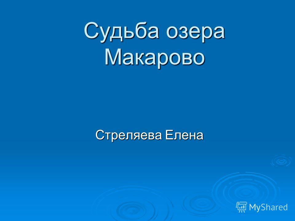 Судьба озера Макарово Стреляева Елена Стреляева Елена