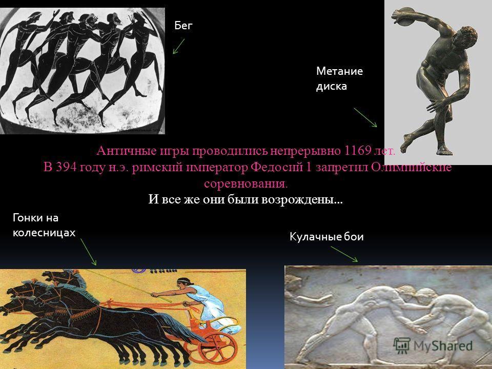 Бег Метание диска Гонки на колесницах Кулачные бои Античные игры проводились непрерывно 1169 лет. В 394 году н.э. римский император Федосий 1 запретил Олимпийские соревнования. И все же они были возрождены …