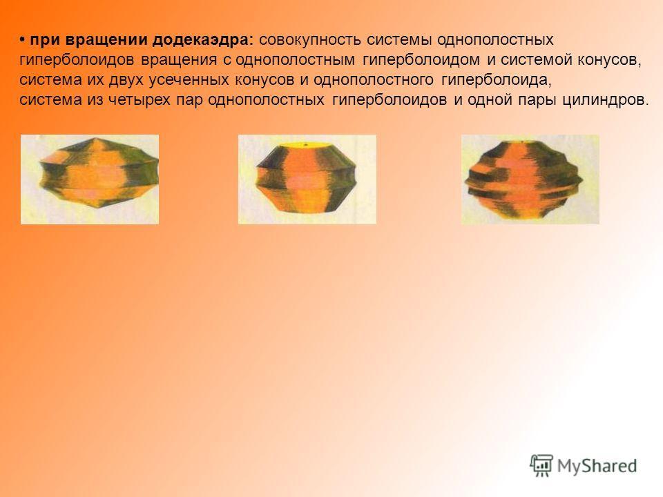 при вращении додекаэдра: совокупность системы однополостных гиперболоидов вращения с однополостным гиперболоидом и системой конусов, система их двух усеченных конусов и однополостного гиперболоида, система из четырех пар однополостных гиперболоидов и