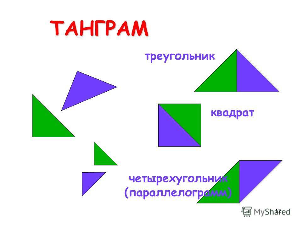 12ТАНГРАМ треугольник квадрат четырехугольник (параллелограмм)