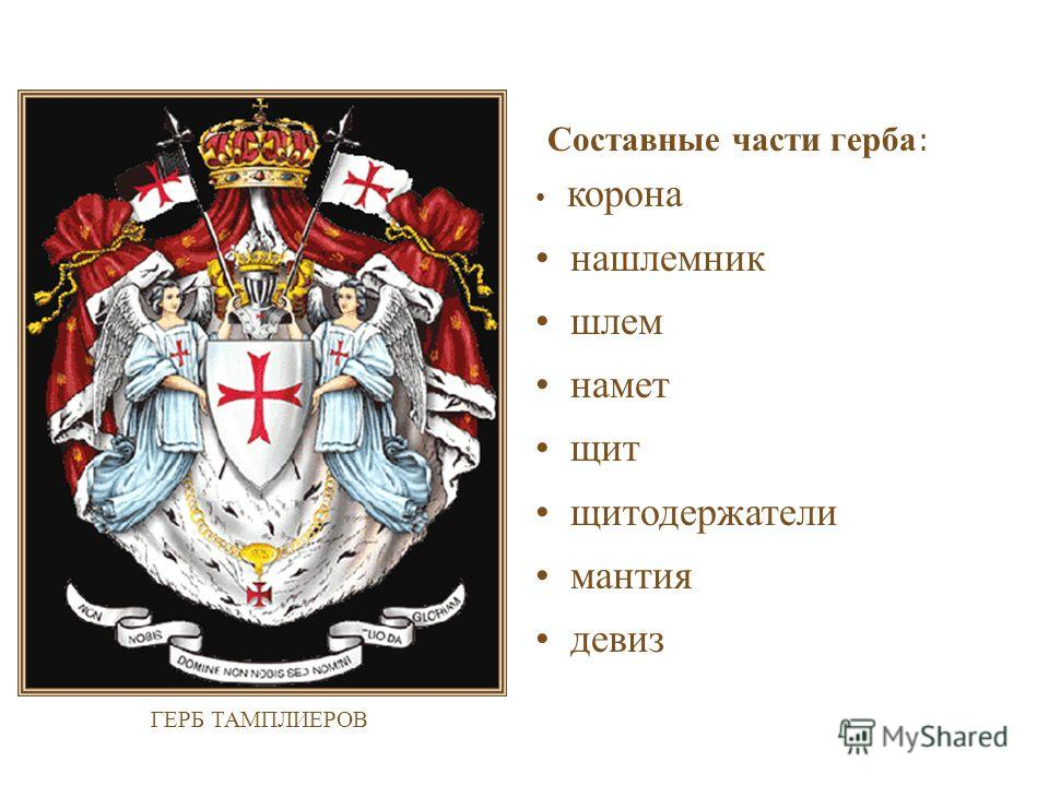 Составные части герба : корона нашлемник шлем намет щит щитодержатели мантия девиз ГЕРБ ТАМПЛИЕРОВ