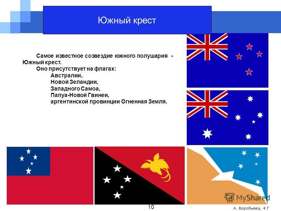 А. Воробьева, 4 Г Самое известное созвездие южного полушария - Южный крест. Оно присутствует на флагах: Австралии, Новой Зеландии, Западного Самоа, Папуа-Новой Гвинеи, аргентинской провинции Огненная Земля. 10 Южный крест