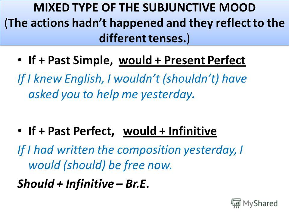 MIXED TYPE OF THE SUBJUNCTIVE MOOD (The actions hadnt happened and they reflect to the different tenses.) If + Past Simple, would + Present Perfect If I knew English, I wouldnt (shouldnt) have asked you to help me yesterday. If + Past Perfect, would