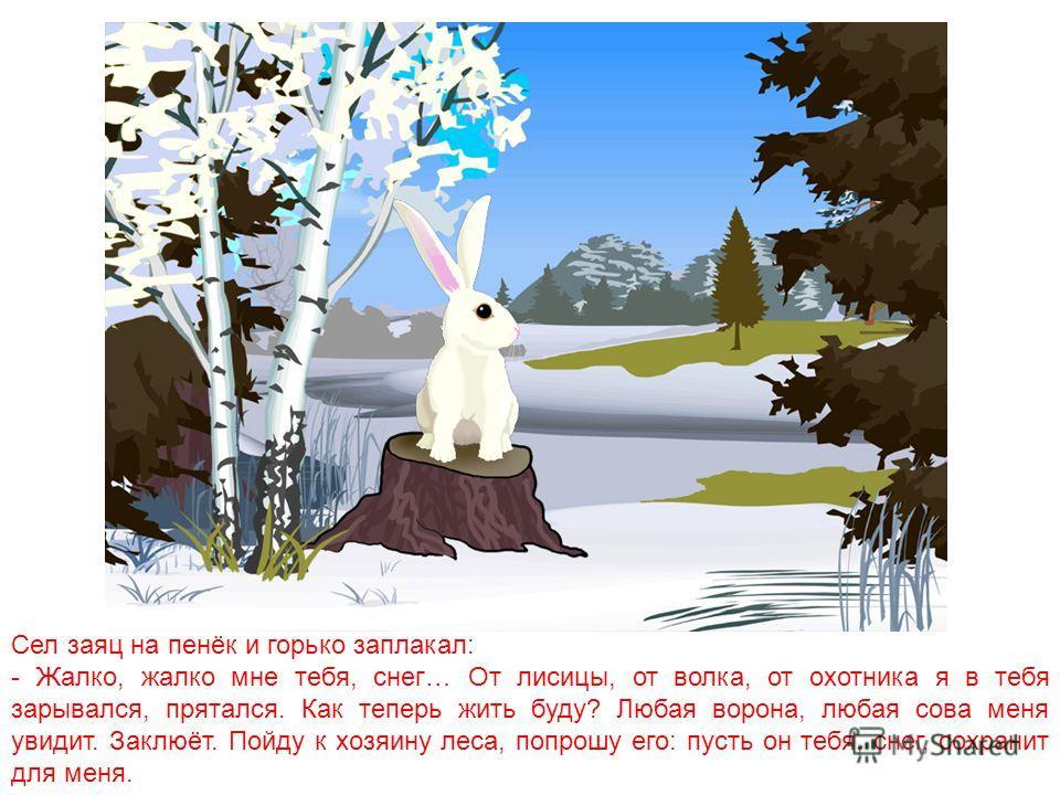 Говорит как-то снег зайцу: - Что-то у меня голова заболела. - Наверное, ты таешь, оттого у тебя и голова заболела, - ответил заяц.