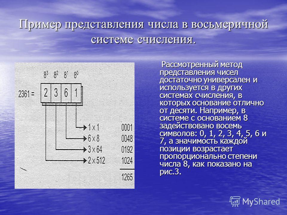 Пример представления числа в восьмеричной системе счисления. Рассмотренный метод представления чисел достаточно универсален и используется в других системах счисления, в которых основание отлично от десяти. Например, в системе с основанием 8 задейств