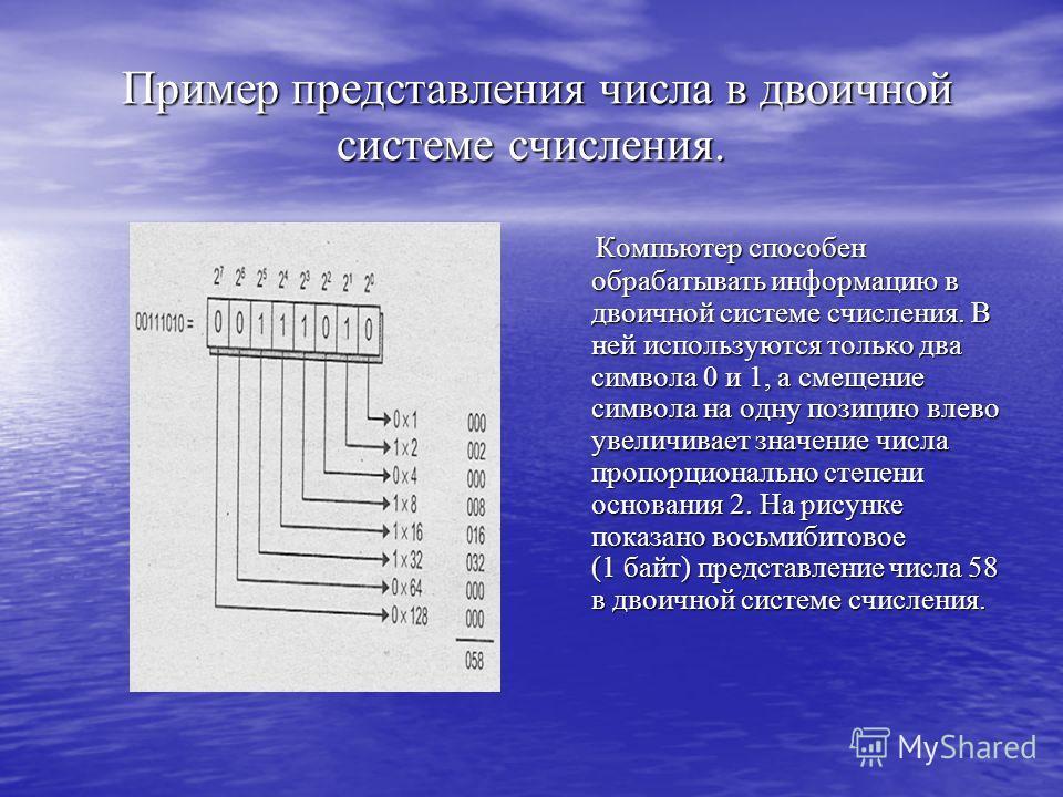 Пример представления числа в двоичной системе счисления. Пример представления числа в двоичной системе счисления. Компьютер способен обрабатывать информацию в двоичной системе счисления. В ней используются только два символа 0 и 1, а смещение символа