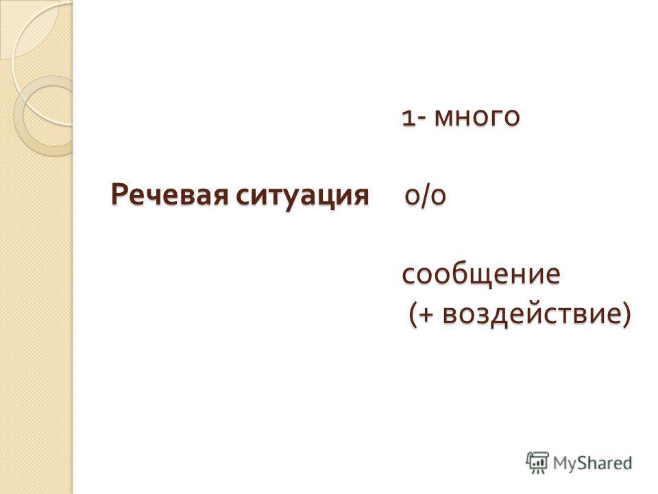 1- много Речевая ситуация 0/0 сообщение (+ воздействие ) 1- много Речевая ситуация 0/0 сообщение (+ воздействие )
