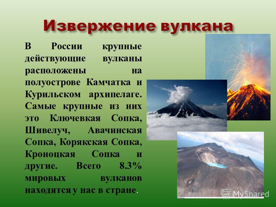 В России крупные действующие вулканы расположены на полуострове Камчатка и Курильском архипелаге. Самые крупные из них это Ключевкая Сопка, Шивелуч, Авачинская Сопка, Корякская Сопка, Кроноцкая Сопка и другие. Всего 8.3% мировых вулканов находятся у