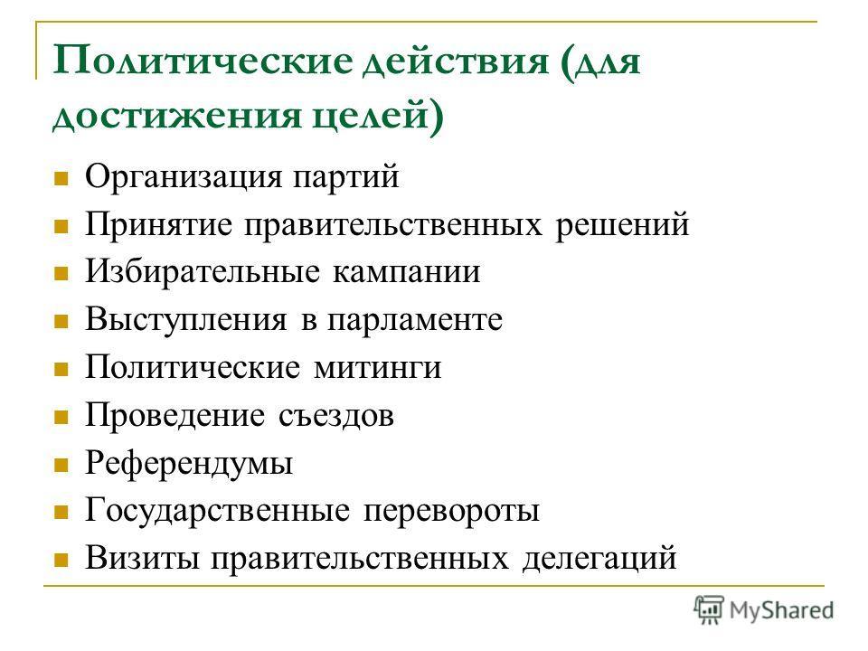 Политические действия (для достижения целей) Организация партий Принятие правительственных решений Избирательные кампании Выступления в парламенте Политические митинги Проведение съездов Референдумы Государственные перевороты Визиты правительственных