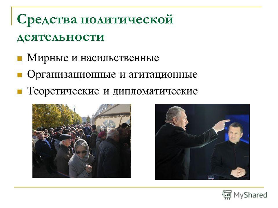 Средства политической деятельности Мирные и насильственные Организационные и агитационные Теоретические и дипломатические