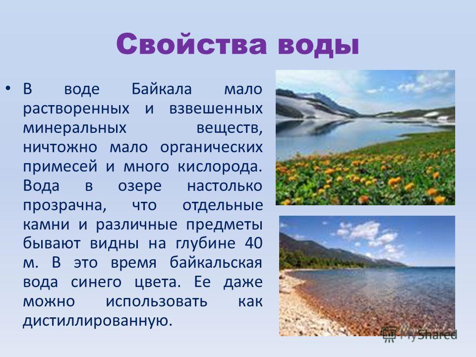 Свойства воды В воде Байкала мало растворенных и взвешенных минеральных веществ, ничтожно мало органических примесей и много кислорода. Вода в озере настолько прозрачна, что отдельные камни и различные предметы бывают видны на глубине 40 м. В это вре