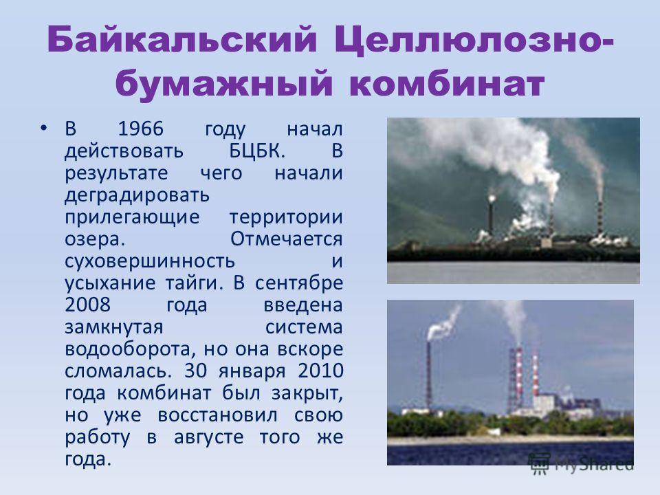 Байкальский Целлюлозно- бумажный комбинат В 1966 году начал действовать БЦБК. В результате чего начали деградировать прилегающие территории озера. Отмечается суховершинность и усыхание тайги. В сентябре 2008 года введена замкнутая система водооборота