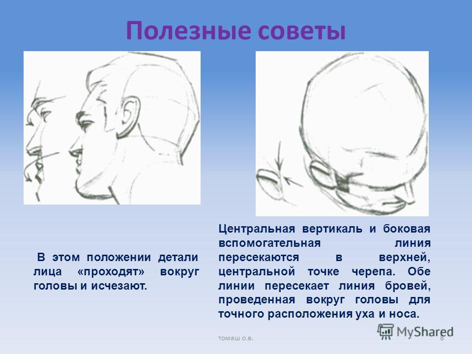 Полезные советы В этом положении детали лица «проходят» вокруг головы и исчезают. Центральная вертикаль и боковая вспомогательная линия пересекаются в верхней, центральной точке черепа. Обе линии пересекает линия бровей, проведенная вокруг головы для