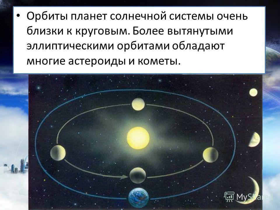 Орбиты планет солнечной системы очень близки к круговым. Более вытянутыми эллиптическими орбитами обладают многие астероиды и кометы.