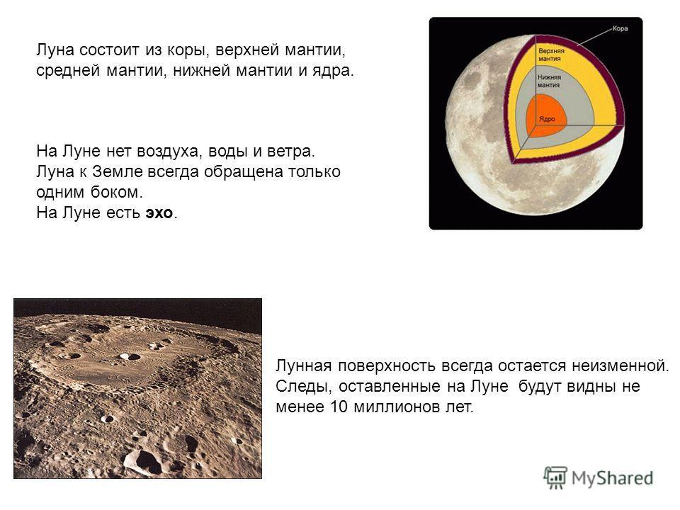 Луна состоит из коры, верхней мантии, средней мантии, нижней мантии и ядра. На Луне нет воздуха, воды и ветра. Луна к Земле всегда обращена только одним боком. На Луне есть эхо. Лунная поверхность всегда остается неизменной. Следы, оставленные на Лун