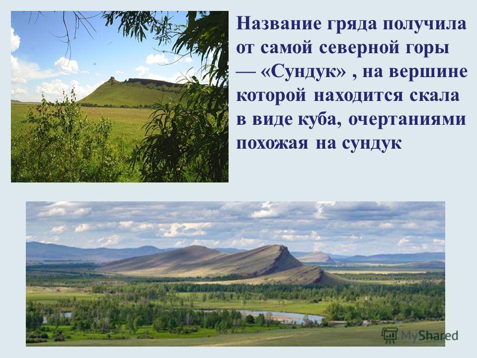 Название гряда получила от самой северной горы «Сундук», на вершине которой находится скала в виде куба, очертаниями похожая на сундук