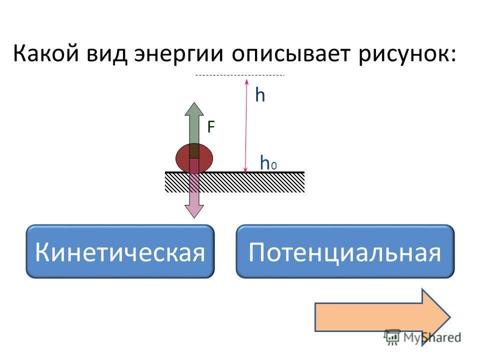Какой вид энергии описывает рисунок: КинетическаяПотенциальная h h0h0 F