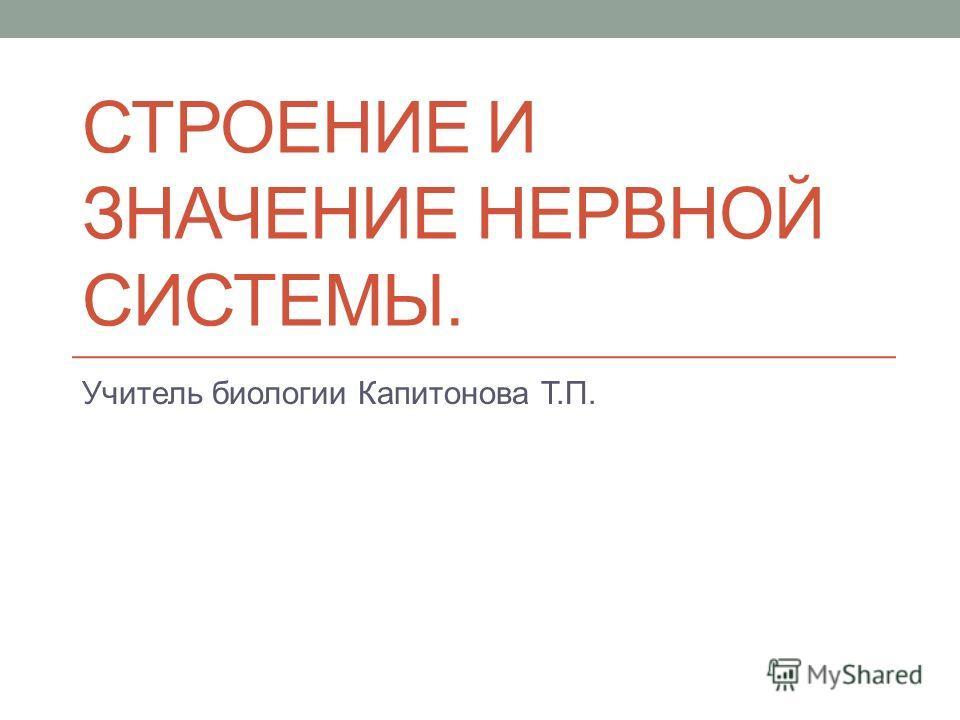 СТРОЕНИЕ И ЗНАЧЕНИЕ НЕРВНОЙ СИСТЕМЫ. Учитель биологии Капитонова Т.П.
