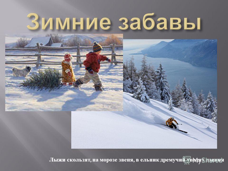 Лыжи скользят, на морозе звеня, в ельник дремучий уводит лыжня
