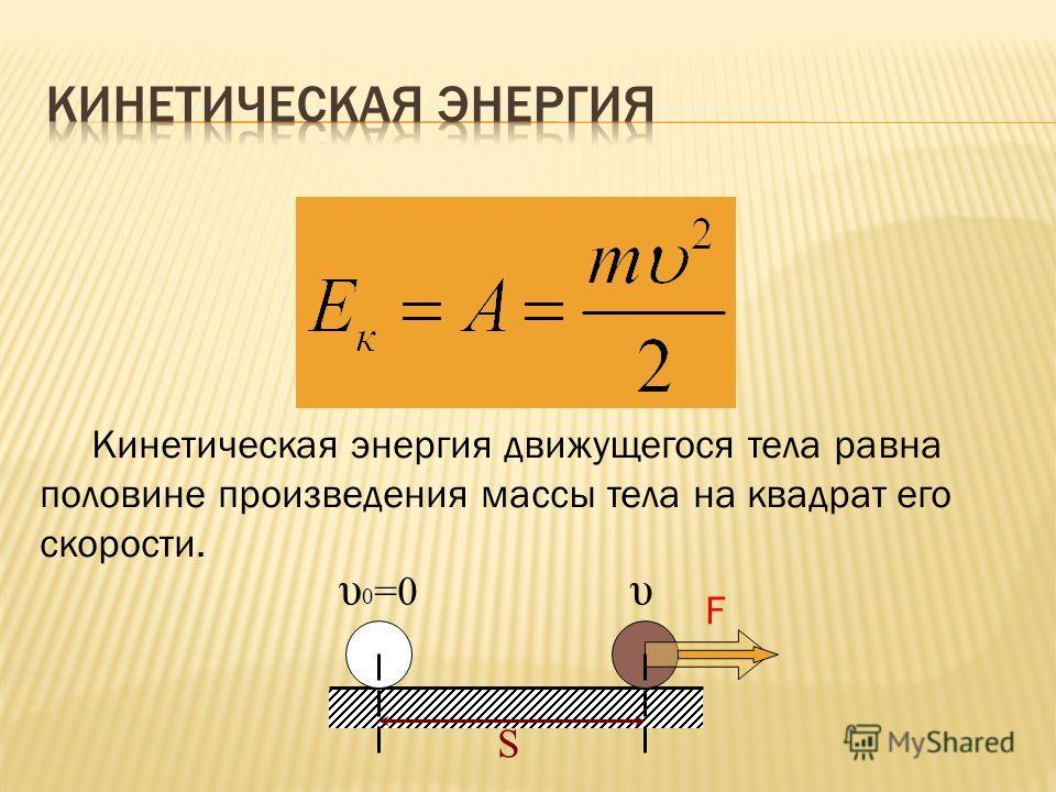 υυ 0 =0 S F Кинетическая энергия движущегося тела равна половине произведения массы тела на квадрат его скорости.