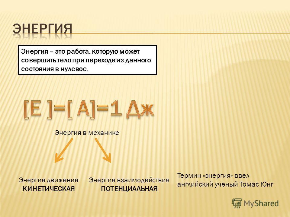 Энергия – это работа, которую может совершить тело при переходе из данного состояния в нулевое. Термин «энергия» ввел английский ученый Томас Юнг Энергия в механике Энергия движения КИНЕТИЧЕСКАЯ Энергия взаимодействия ПОТЕНЦИАЛЬНАЯ