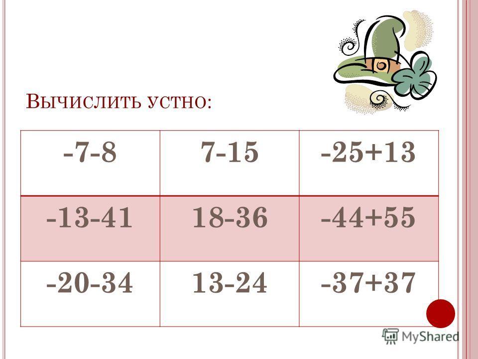 В ЫЧИСЛИТЬ УСТНО : -7-87-15-25+13 -13-4118-36-44+55 -20-3413-24-37+37
