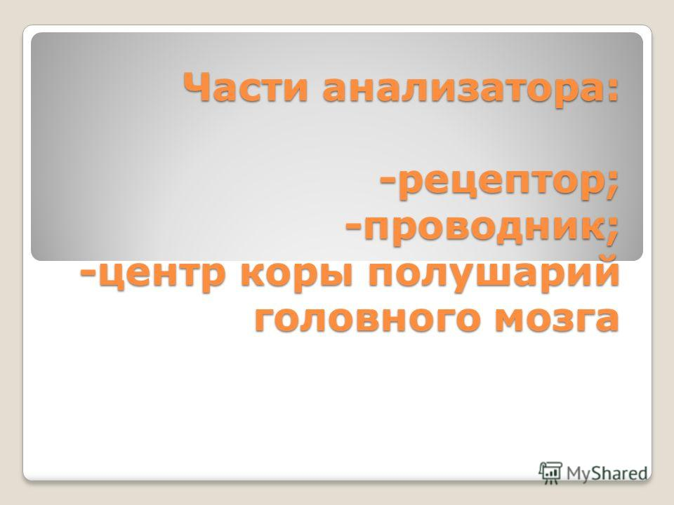 Части анализатора: -рецептор; -проводник; -центр коры полушарий головного мозга