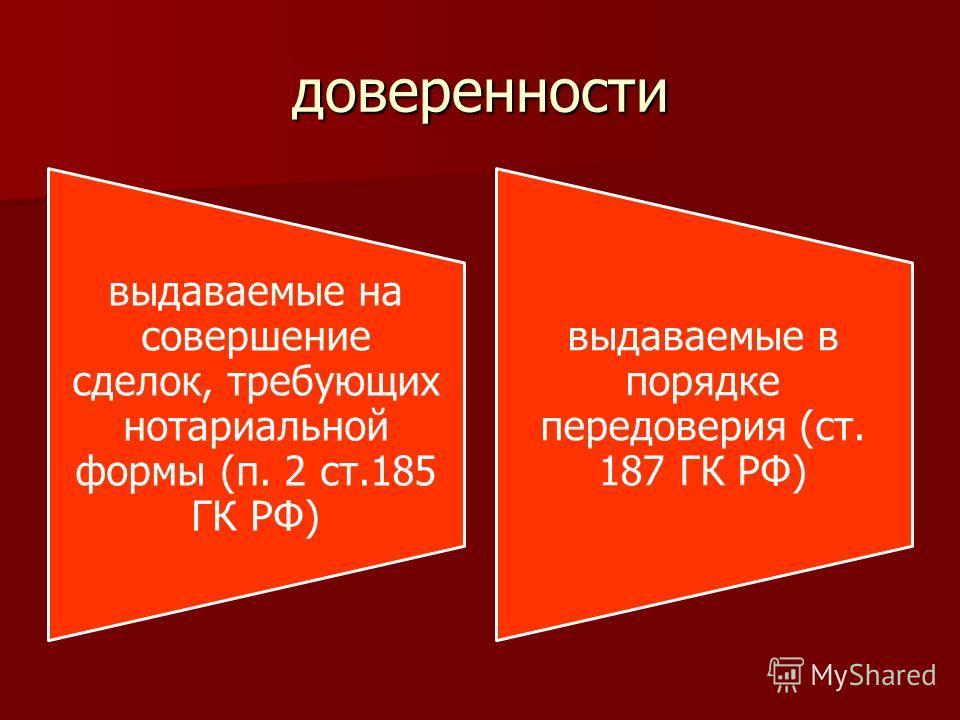 доверенности выдаваемые на совершение сделок, требующих нотариальной формы (п. 2 ст.185 ГК РФ) выдаваемые в порядке передоверия (ст. 187 ГК РФ)
