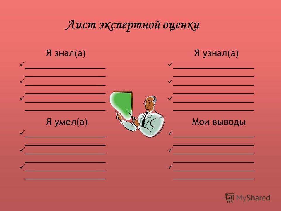 Лист экспертной оценки Я знал(а) Я умел(а) Я узнал(а) Мои выводы _____________________ _____________________
