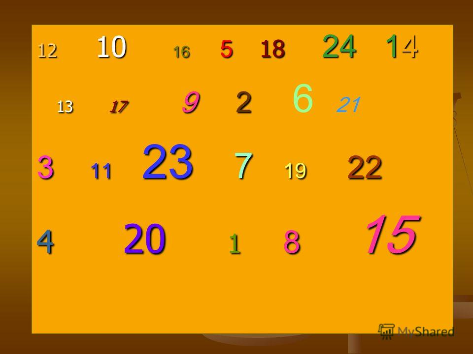 12 10 16 5 18 24 14 13 17 9 2 13 17 9 2 6 21 3 11 23 7 19 22 4 20 1 8 15