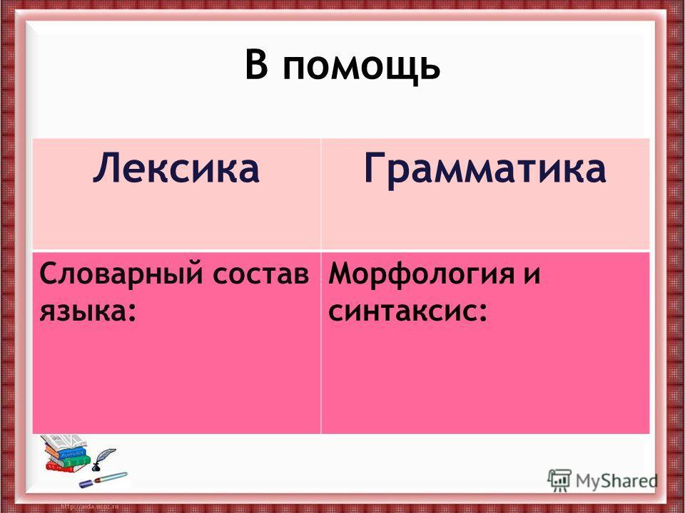 В помощь ЛексикаГрамматика Словарный состав языка: Морфология и синтаксис: