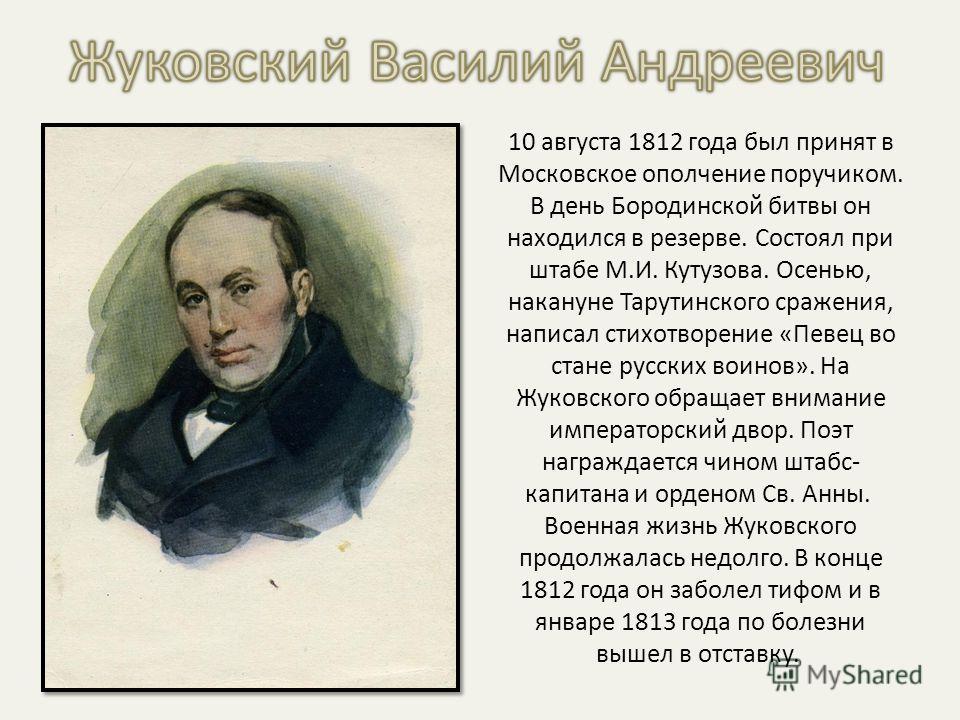 10 августа 1812 года был принят в Московское ополчение поручиком. В день Бородинской битвы он находился в резерве. Состоял при штабе М.И. Кутузова. Осенью, накануне Тарутинского сражения, написал стихотворение «Певец во стане русских воинов». На Жуко