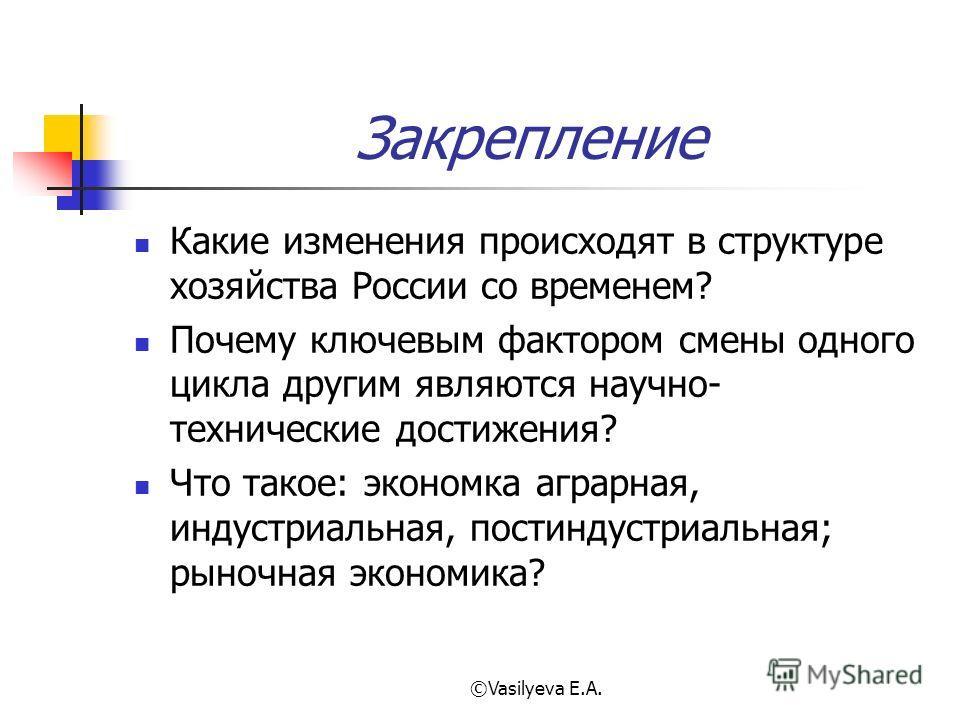 ©Vasilyeva E.A. Закрепление Какие изменения происходят в структуре хозяйства России со временем? Почему ключевым фактором смены одного цикла другим являются научно- технические достижения? Что такое: экономка аграрная, индустриальная, постиндустриаль