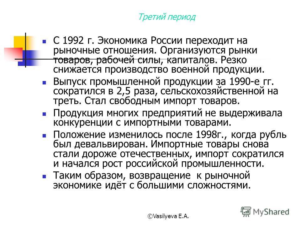 ©Vasilyeva E.A. Третий период С 1992 г. Экономика России переходит на рыночные отношения. Организуются рынки товаров, рабочей силы, капиталов. Резко снижается производство военной продукции. Выпуск промышленной продукции за 1990-е гг. сократился в 2,